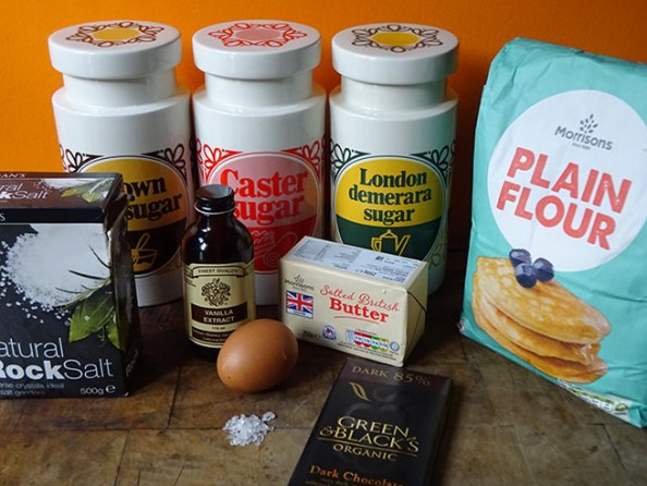 Home-made salted butter chocolate chunk shortbread ingredients