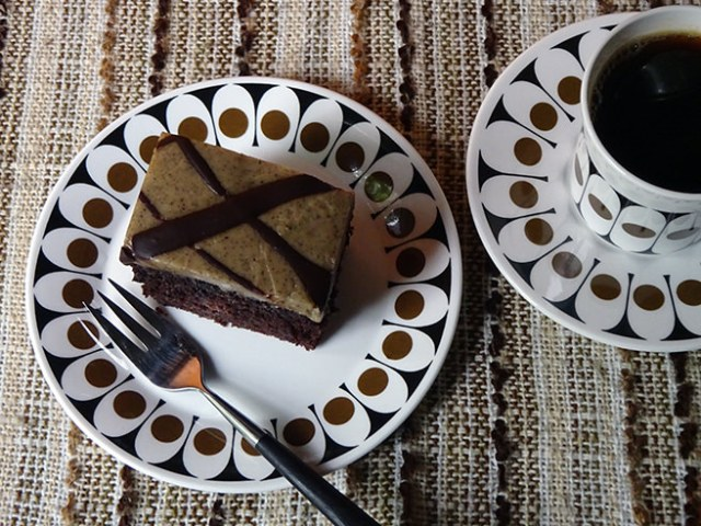 Slice of home-made sourdough coffee chocolate cake | H is for Home #recipe #sourdough #cake #baking