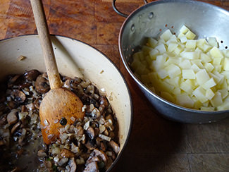Cooked mushrooms and potato | H is for Home