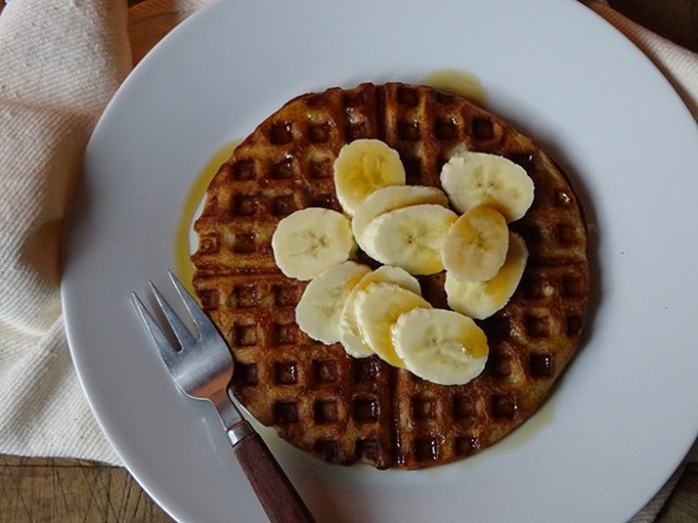 Plate of home-made sourdough waffles with banana & maple syrup | H is for Home