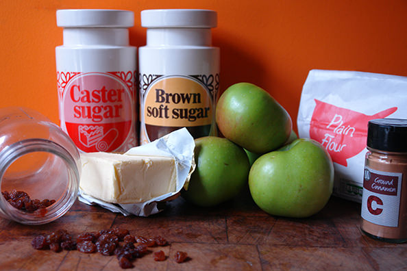 Home-made spiced apple & sultana pie ingredients