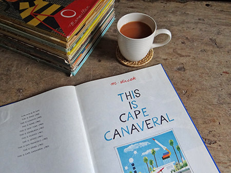 Vintage 'This is Cape Canaveral' book with cup of tea