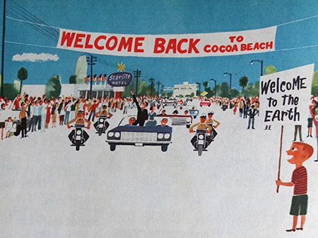 'Welcome Back' illustration from a vintage 'This is Cape Canaveral' book