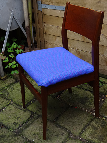 vintage teak chair recovered in vintage blue upholstery fabric
