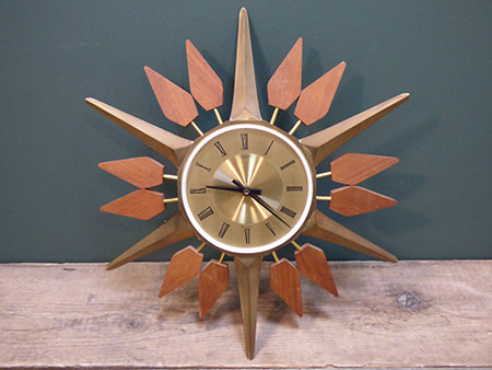 vintage Anstey and Wilson starburst clock for sale by & in support of Isabel Hospice