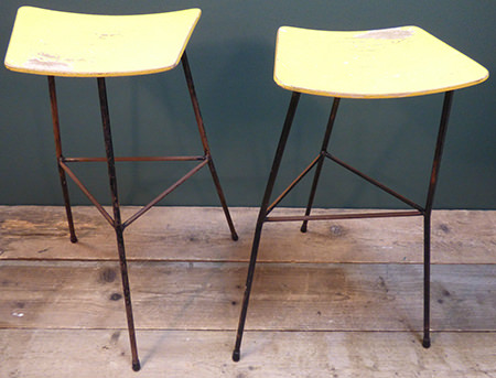 Pair of vintaage Ernest Race high stools for sale by & in support of Isabel Hospice