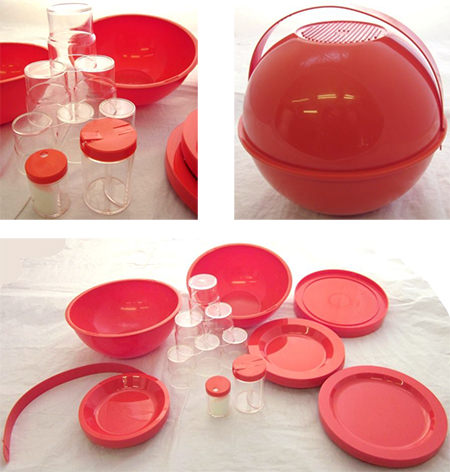 Orange vintage Guzzini picnic set for sale on eBay for Charity by Kiveton Park & Wales Community Development Trust