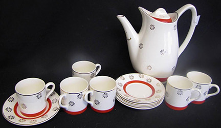 vintage 1950s Midwinter Stylecraft coffee set for sale on eBay for Charity by & on behalf of Lindsey Lodge Hospice