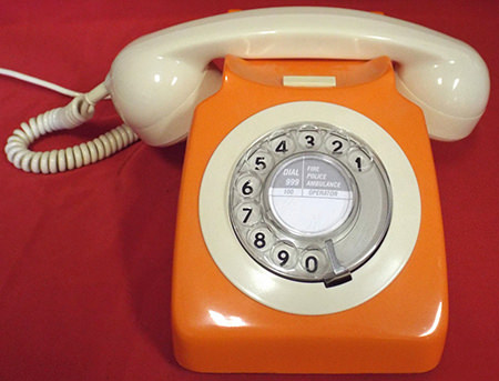 vintage orange rotary dial telephone for sale on eBay for Charity by The Prince Of Wales Hospice