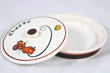 Vintage pottery cheese dish for Dairylee slices