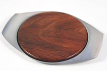vintage wood & stainless steel cheese board