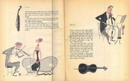 Illustration of string instruments & musicians from 'What Makes an Orchestra' vintage children's book | H is for Home