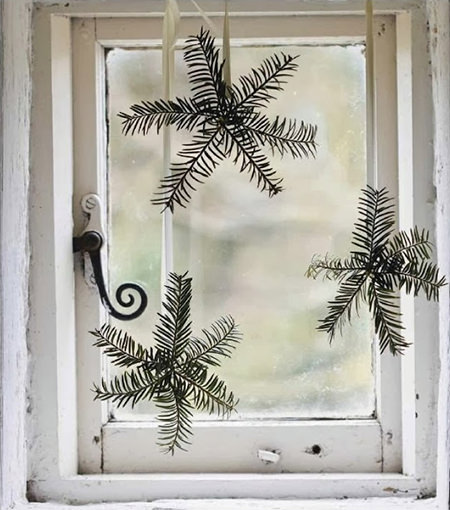 Fir tree snowflake Christmas window decoration