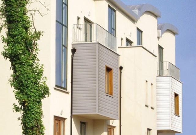 Exterior UPVC cladding on an apartment building