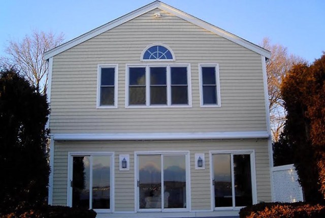 Vinyl-clad front elevation of a house