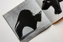 pages from a vintage craft booklet showing hand carved wooden bull