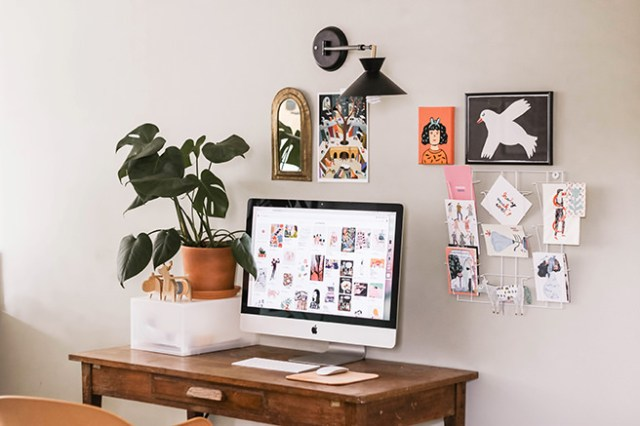 Home office desk with inspiration wall