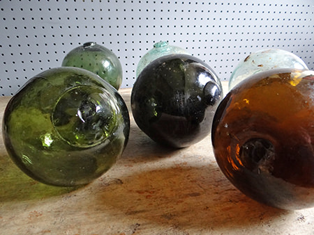 collection of vintage glass floats