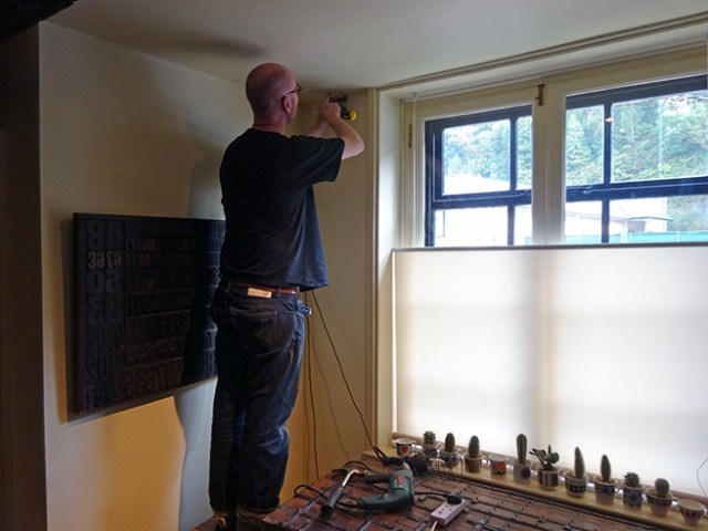 Justin installing our new curtain pole | H is for Home