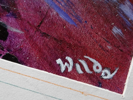 Detail showing the artist signature on 'Skidding icy sunset. Crescent, Salford' original oil painting by David Wild
