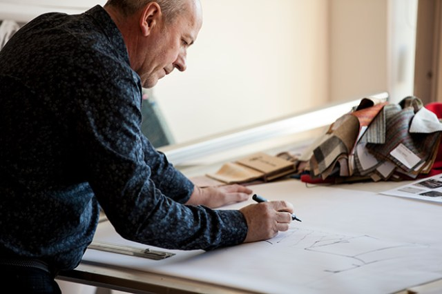 DFS' Design Director, Philip Watkin, sketching DFS Britannia sofa designs