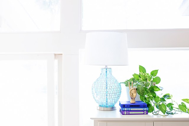 House plant with blue glass lamp and books