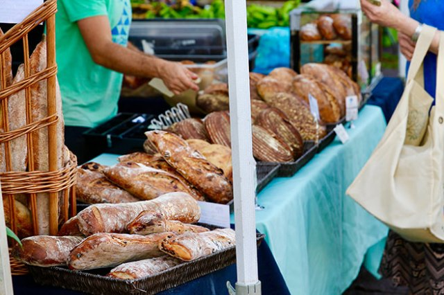 Bread stall at a farmers' market