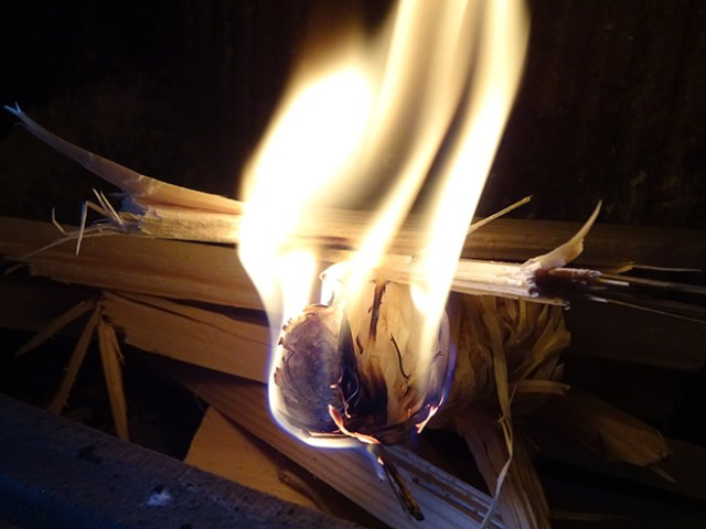Flamer igniting with kindling | H is for Home