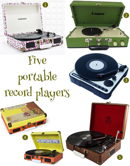 selection of portable record players