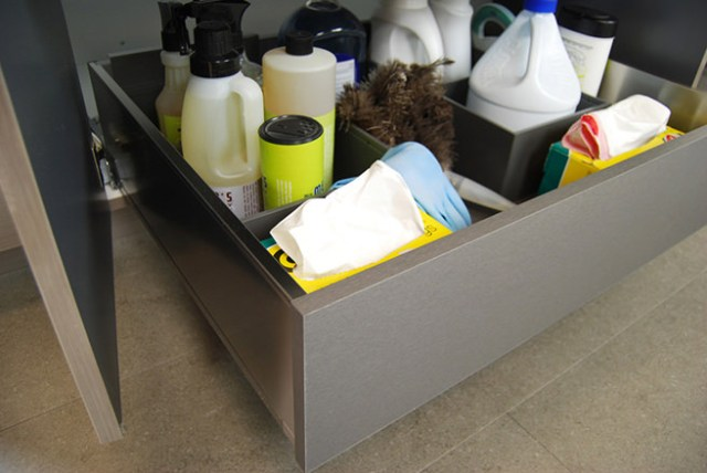 Drawer of cleaning products