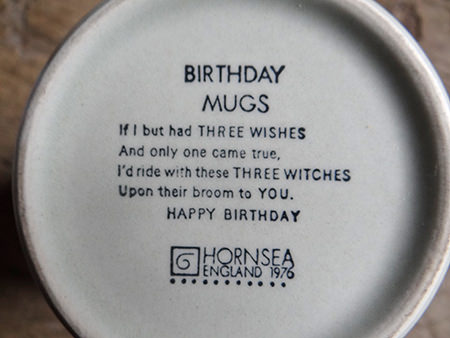 Vintage Hornsea witches mug base with birthday greeting: 'If I but had THREE WISHES And only one came true, I'd ride with these THREE WITCHES Upon their broom to YOU. HAPPY BIRTHDAY'