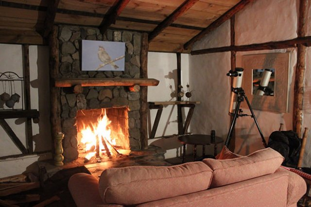 Open fire in a rustic holiday home