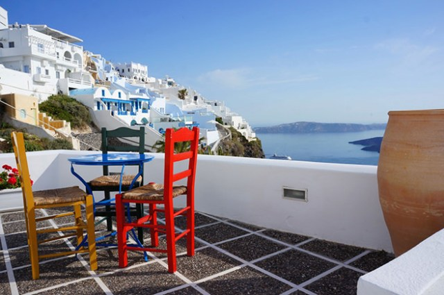 Patio overlooking the Greek coastline