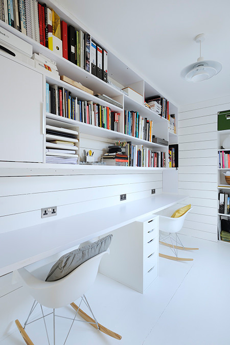 Brilliant white minimalist home office