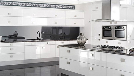 White gloss fitted kitchen