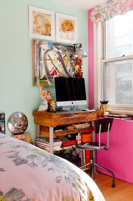 Young person's bedroom with bubble gum pink feature wall