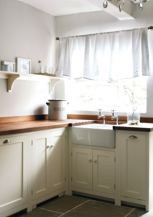 Buttermilk painted kitchedn cabinets