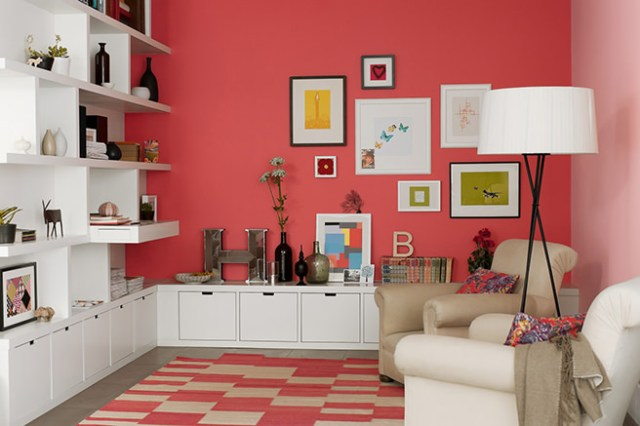 Coral sitting room wall