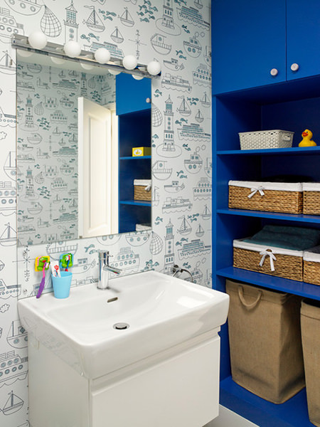 Cornflower blue painted bathroom shelving