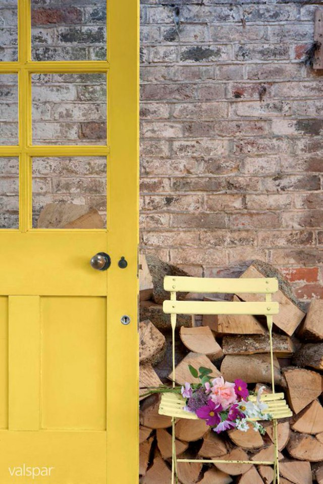 daffodil yellow painted open door