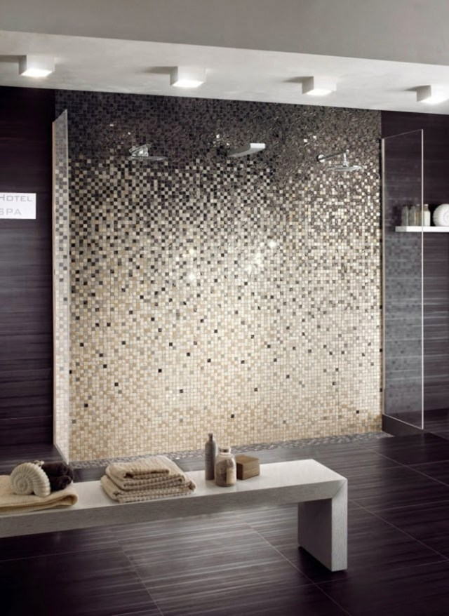 Ombré mosaic tiles bathroom
