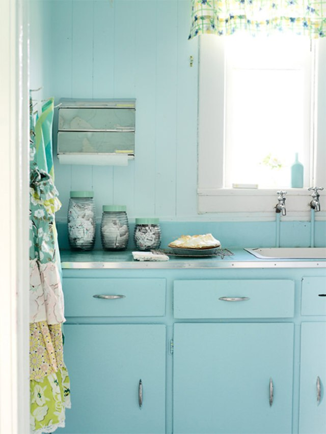 Kitchen cupboards and door painted in Tiffany Blue
