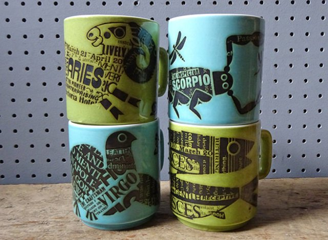 Stack of vintage horoscope mugs designed by John Clappison for Hornsea Pottery | H is for Home