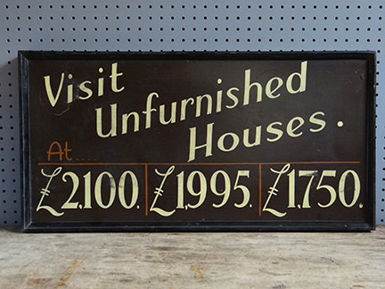 vintage 'Visit Unfurnished Houses' sign