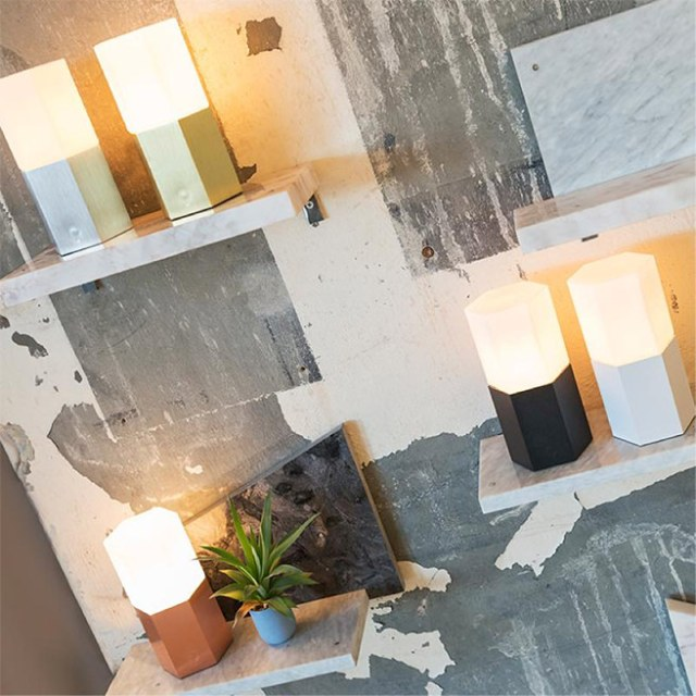 Collection of industrial style hexagonal table lamps