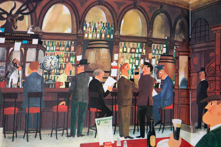 "page from vintage book, ""This is Ireland"" by Miroslav Sasek featuring Irish pub interior"