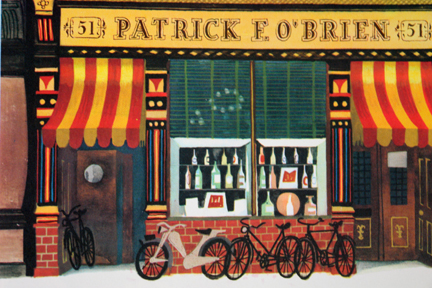 "page from vintage book, ""This is Ireland"" by Miroslav Sasek featuring shop frontage of Patrick O'Brien general store"