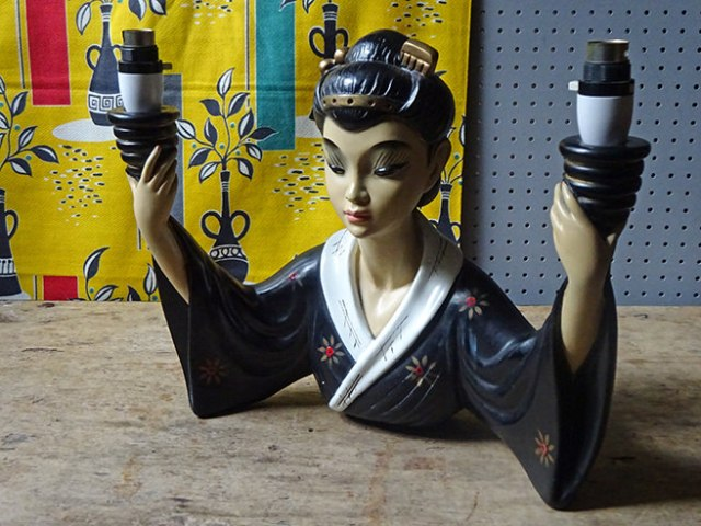 Vintage chalkware Japanese lady lamp | H is for Home