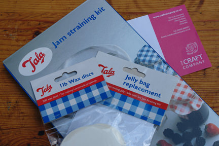 Tala jam straining kit, spare jelly bag and wax discs from The Craft Company