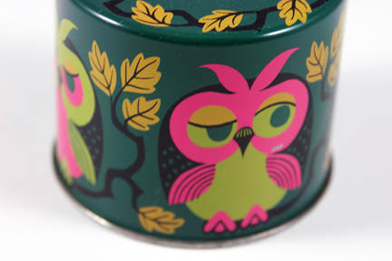 vintage tin money box with owl illustration | H is for Home